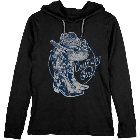 Country Girl® Rhinestone Boots - Lightweight Hooded Tee