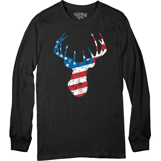 Country Girl® Deer Flag - Long Sleeve Tee