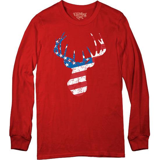 Country Girl® Deer Flag - Long Sleeve Tee