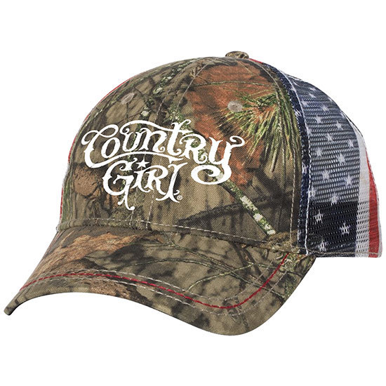 Country Girl® CG Logo Mossy Oak® Country - American Flag Trucker Hat