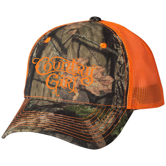 Country Girl® CG Logo Mossy Oak® Country - Blaze Orange Trucker Hat