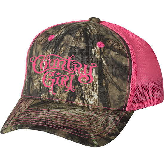 Country Girl® CG Logo Mossy Oak® Country - Neon Pink Trucker Hat
