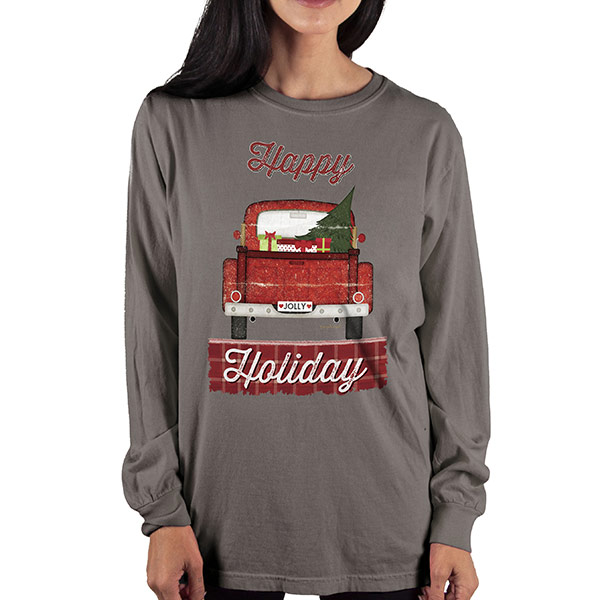 Country Girl® Comfort Colors Happy Holiday Truck - Long Sleeve Tee