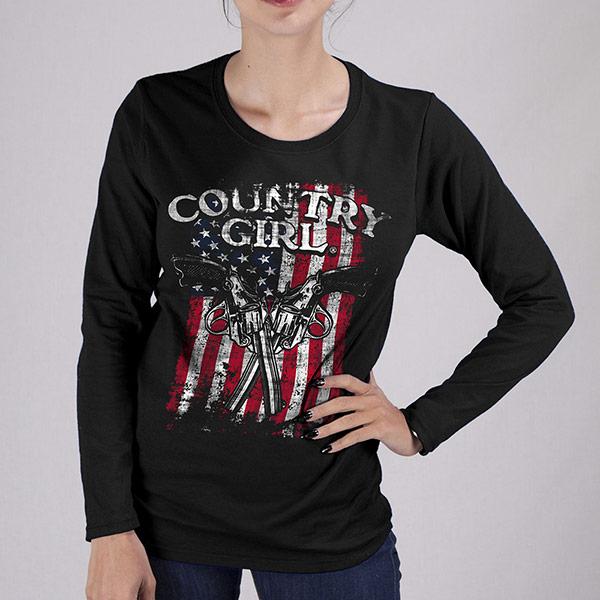 Country Girl® Gun Flag - Long Sleeve Tee