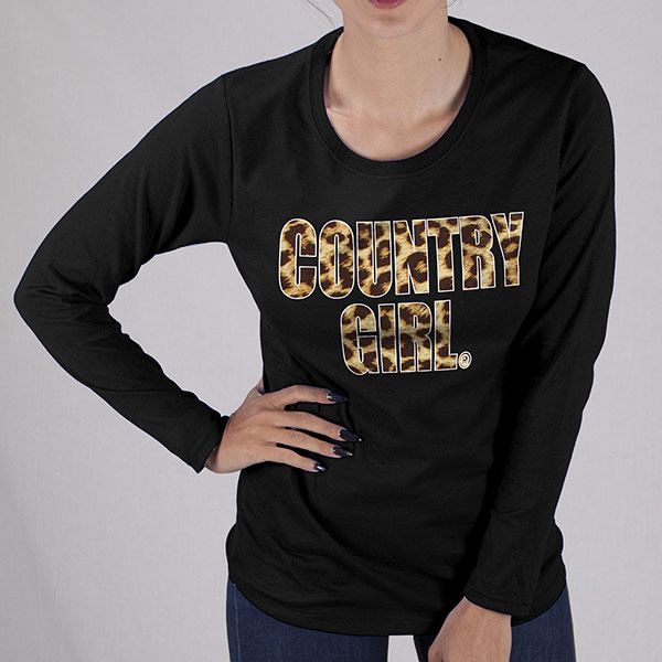 Country Girl® Leopard Print - Long Sleeve Tee
